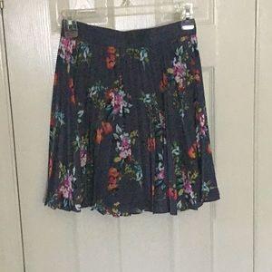 Pleated Slate Blue Floral Skirt